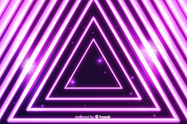 Triângulo neon luz de fundo