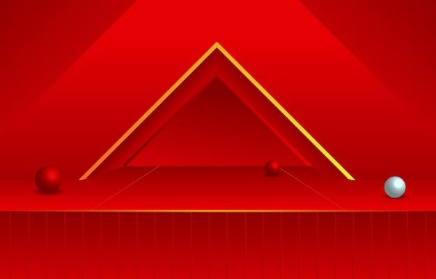 Triângulo no quarto vazio vermelho