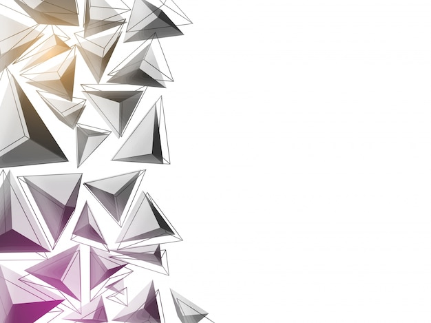 Triângulos 3d fundo abstrato em cores cinza e roxo. conceito de baixo teor de poliéster.