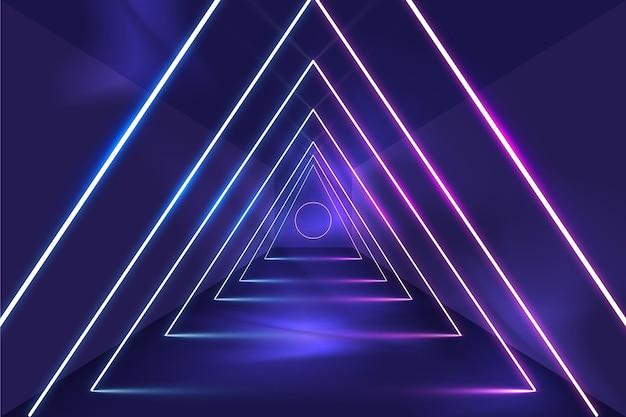 Triângulos abstratos com fundo de luzes de néon