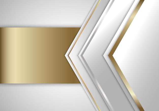 Triângulos abstratos de branco e cinza com fundo de estilo luxuoso de listras douradas. ilustração vetorial