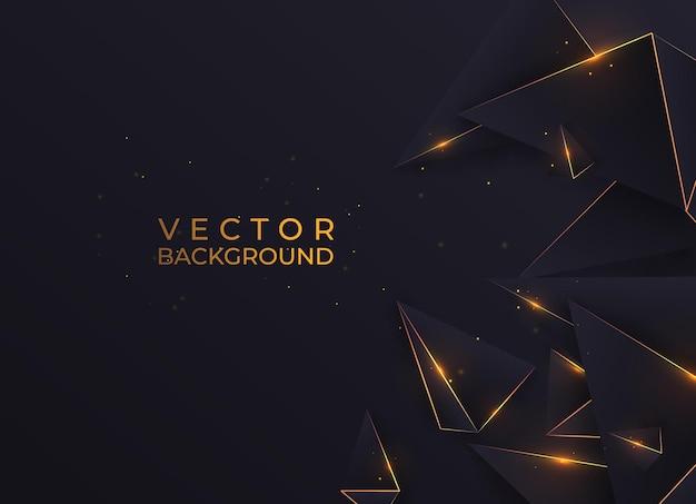 Triângulos abstratos de polígono escuro dão forma a um fundo dourado de luxo com uma linha dourada e um estilo luxuoso de efeito de iluminação. ilustração vetorial