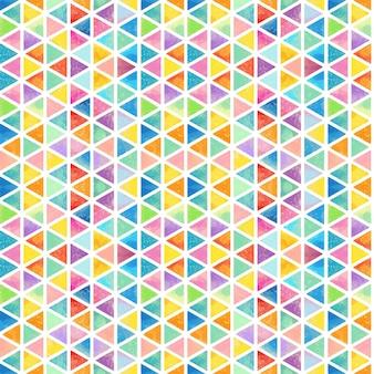 Triângulos aquarela de padrão poligonal de arco-íris mosaico