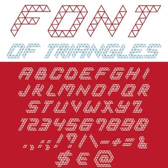 Triângulos de fonte. tipografia digital. tipo de letra linear criativo.
