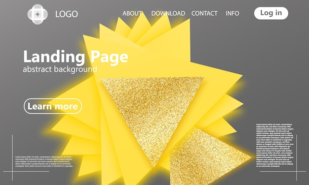 Triângulos de ouro. fundo geométrico. formas geométricas amarelas e cinza. partículas douradas. design de capa abstrata mínima. cartaz de cores da moda.