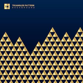 Triângulos de ouro geométricos sem costura de fundo.