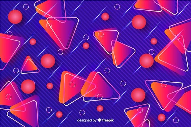 Triângulos decorativos fundo geométrico vermelho