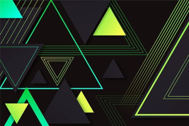 Triângulos gradientes em fundo escuro