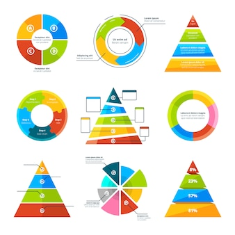 Triângulos, pirâmides e elementos redondos para infográficos