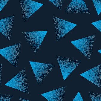 Triângulos pontilhados azul repetitivo abstrato padrão sem emenda