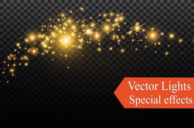 Triângulos realistas amarelos e efeitos de luz dourada. efeito 3d. movimento de triângulos voadores. Vetor Premium