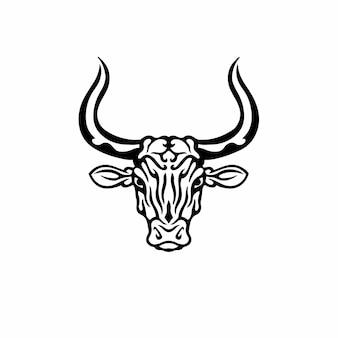 Tribal bull head logo tattoo design stencil ilustração em vetor