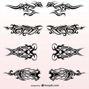Tribal conjunto tatuagens desenho vetorial