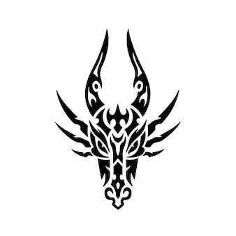 Tribal dragon head logo tattoo design stencil ilustração em vetor