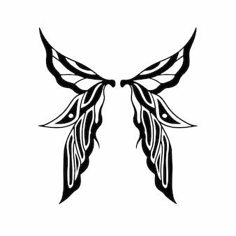 Tribal fairy wings logo tattoo design ilustração em vetor estêncil
