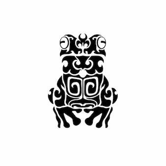 Tribal frog logo tattoo design ilustração em vetor estêncil