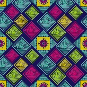 Tribal padrão sem emenda com retângulo colorido e mandala