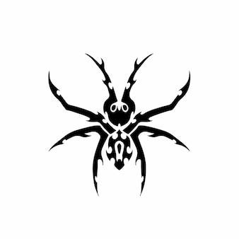 Tribal spider head logo tattoo design stencil ilustração em vetor