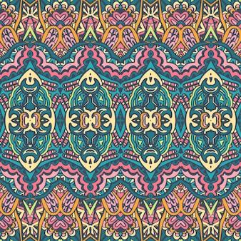 Tribal vetor abstrato vintage geométrico étnico padrão sem emenda ornamental. design têxtil indiano colorido