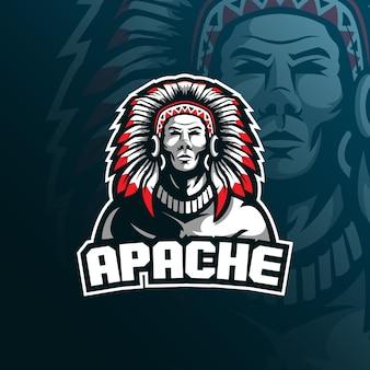 Tribo apache mascote logotipo com ilustração moderna