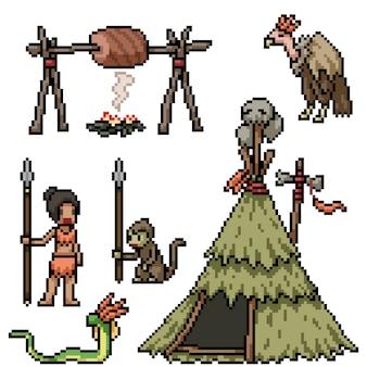 Tribo da selva de pixel art