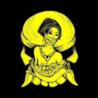 Tribo feminina com ilustração de caveira