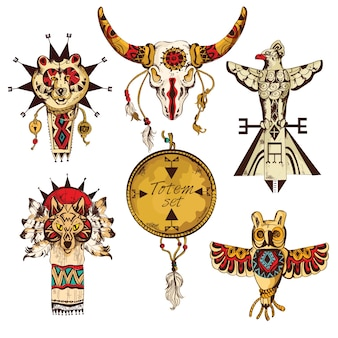 Tribos americanas étnicas totens animais coloridos esboço elementos decorativos conjunto ilustração vetorial isolado
