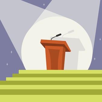 Tribuna com modelo de microfone