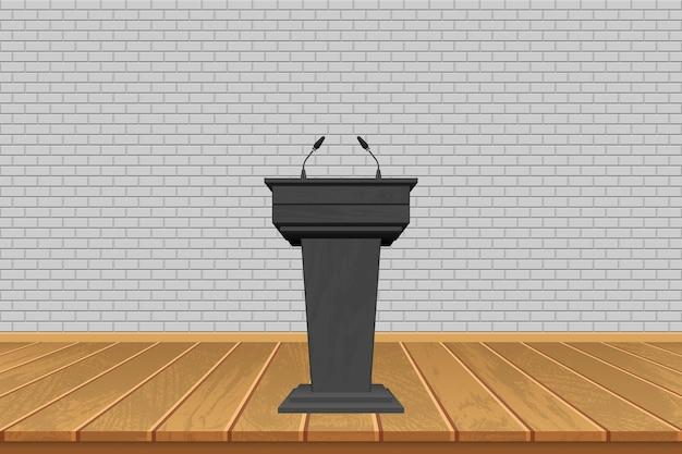 Tribuna de madeira com microfones no fundo do palco