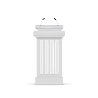 Tribuna de pódio branco de vetor com microfones