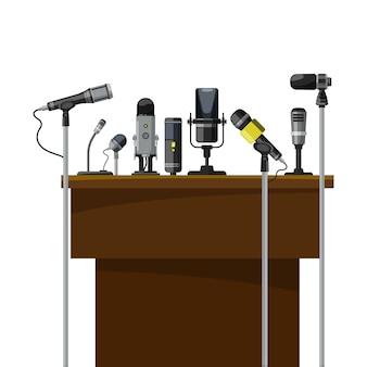 Tribuna para alto-falantes e microfones diferentes. visualização de conferência.