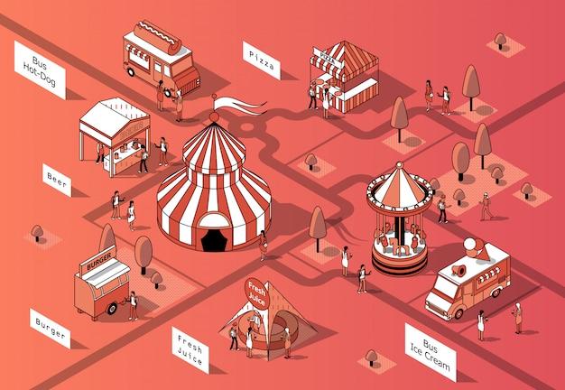 Tribunais de comida isométrica 3d, festival - mercado