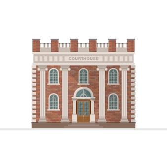 Tribunal, edifício, ilustração, isolado, branco, fundo