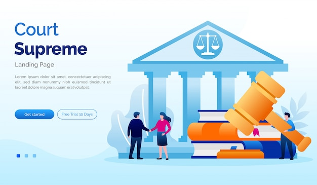 Tribunal supremo página inicial site ilustração plana modelo
