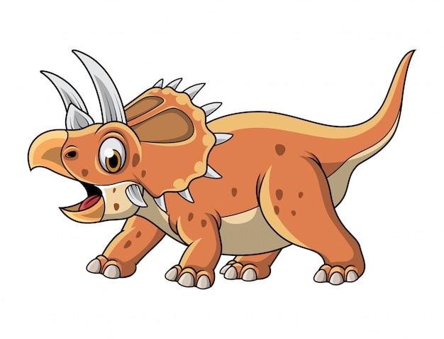 Triceratops de desenhos animados posando isolado no fundo branco