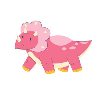 Triceratops dinosaur crianças cute dino flat cartoon réptil blue dragon monster stock vector