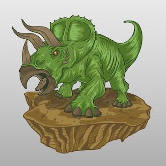 Triceratops gritando verde
