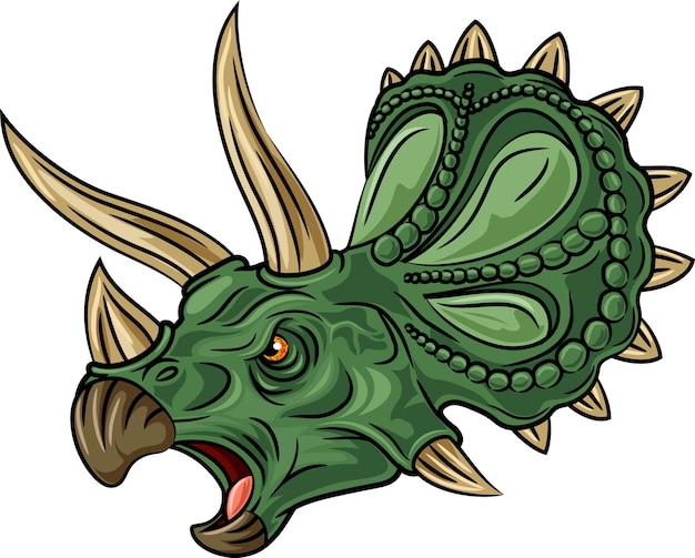 Triceratops irritado isolado no fundo branco