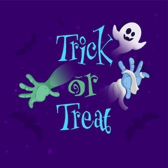 Trick or treat font com cartoon ghost, mãos e morcegos voadores no fundo roxo.