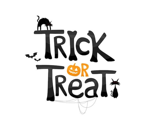 Trick or treat texto com gatos e elementos tradicionais.
