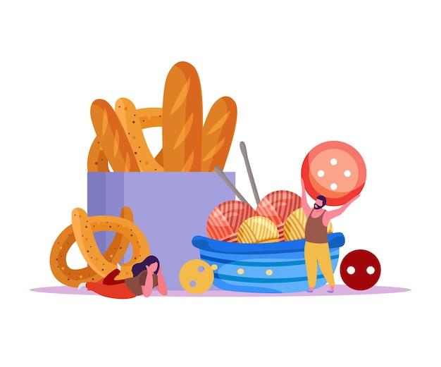 Tricô fundo liso com bolas de fios de lã com botões de comida de padaria e ilustração de pequenos personagens humanos