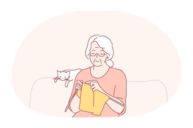 Tricô, hobbies do conceito de pessoas idosas.