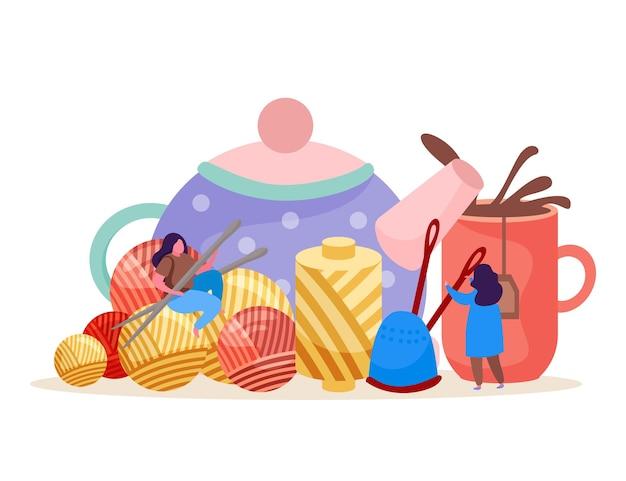 Tricô plano de fundo com imagens de bule com xícara pequena doodle personagens humanos clews e ilustração de agulhas