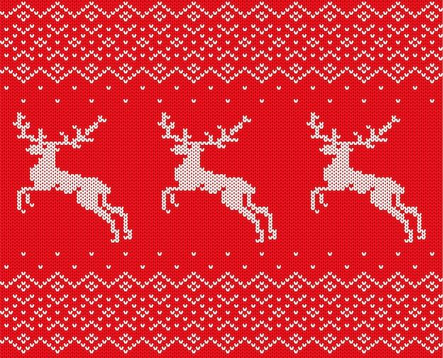 Tricotar o natal com veados e ornamento
