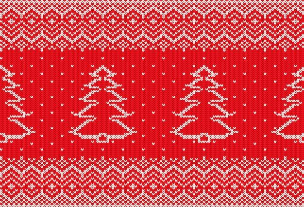 Tricotar ornamento geométrico de natal com árvore de natal e espaço vazio para texto