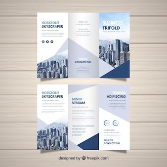 Trifold de negócios em estilo abstrato