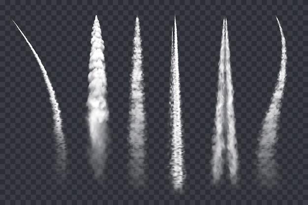 Trilha de fumaça de avião, nuvens de jato de ar