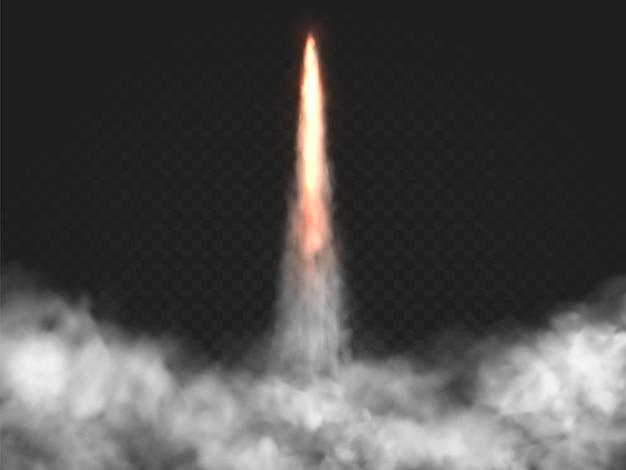 Trilha de lançamento de foguete realista com fumaça de vetor. fogo de lançadeira, nuvem de poeira. a nave espacial decola em fundo transparente.