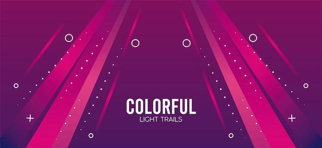 Trilha de luz colorida em desenho de ilustração rosa