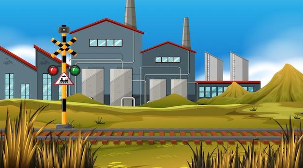 Trilha de trem de fábrica